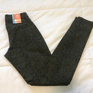 Old Navy green snake print jeans